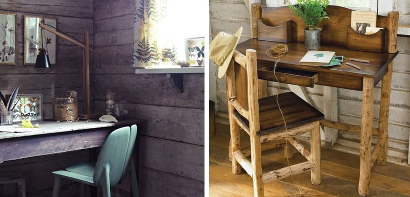 Oficina en casa rústica con madera