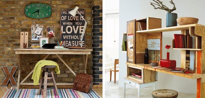 Oficina en casa de estilo rústico original