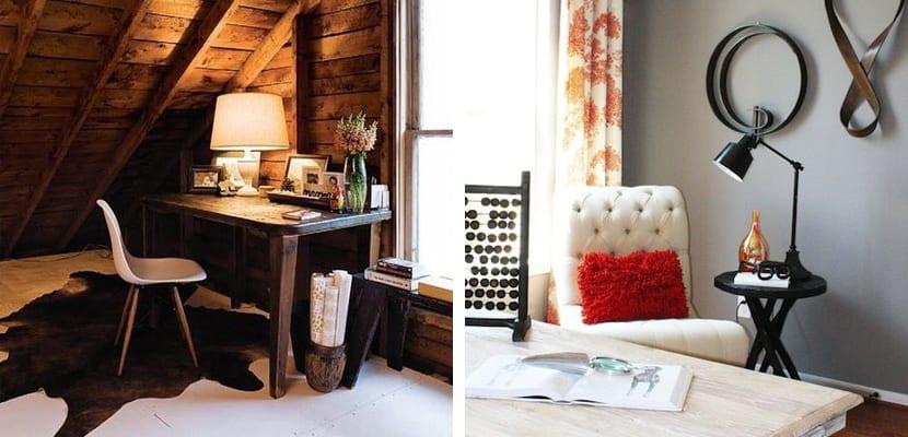 Oficina en estilo rústico sencilla