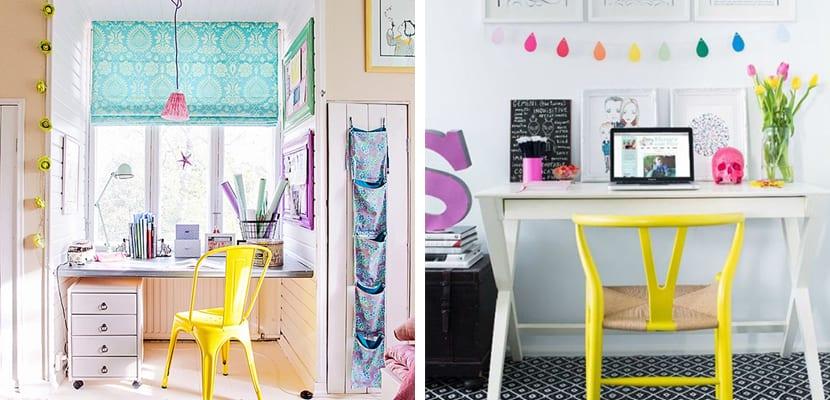 Oficina en casa con muebles llenos de color