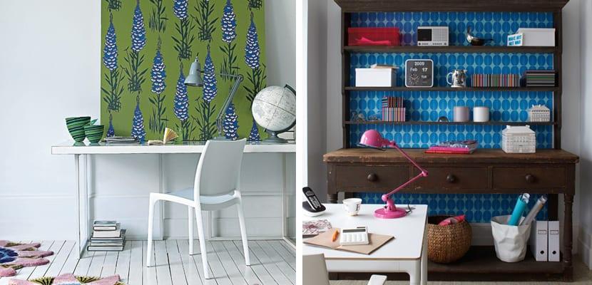 Oficina en casa con papel pintado colorido