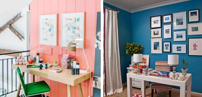 Oficina en casa con paredes coloridas