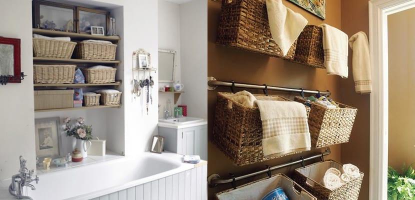 Organizar el baño con cestas de mimbre