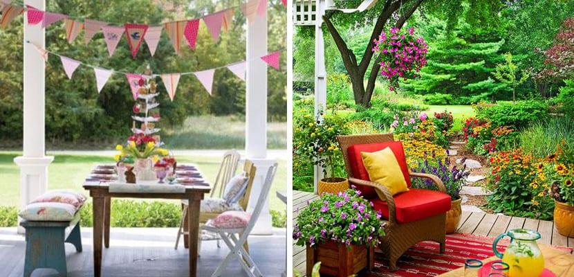 Terraza de primavera colorida