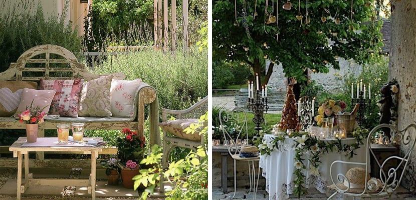 Terraza de primavera en estilo romántico