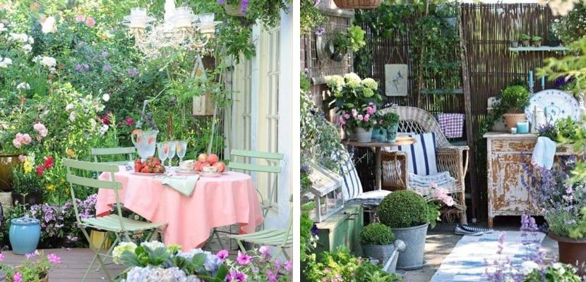 Terraza de primavera en estilo vintage