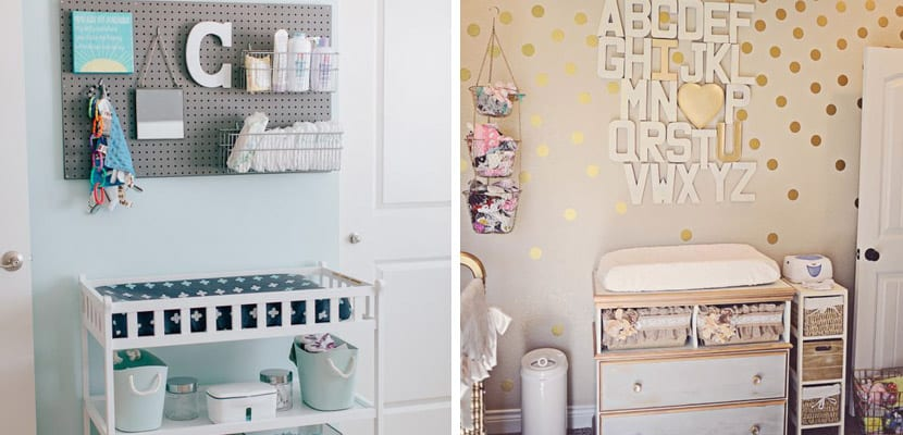 La zona del cambiador en el cuarto del bebé