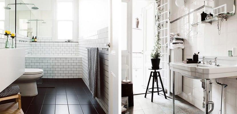 Baño escandinavo con toques vintage