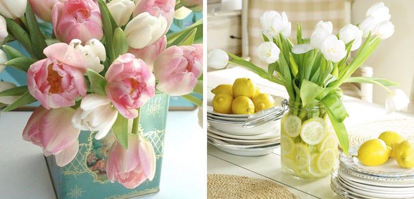 Decorar con tulipanes en centros de mesa