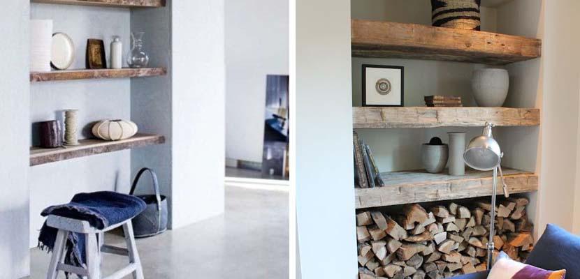 Estanterías nicho con madera