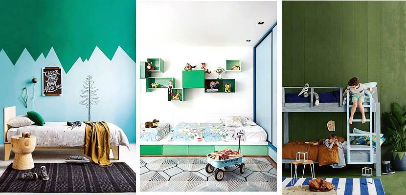 Dormitorio infantil verde y azul