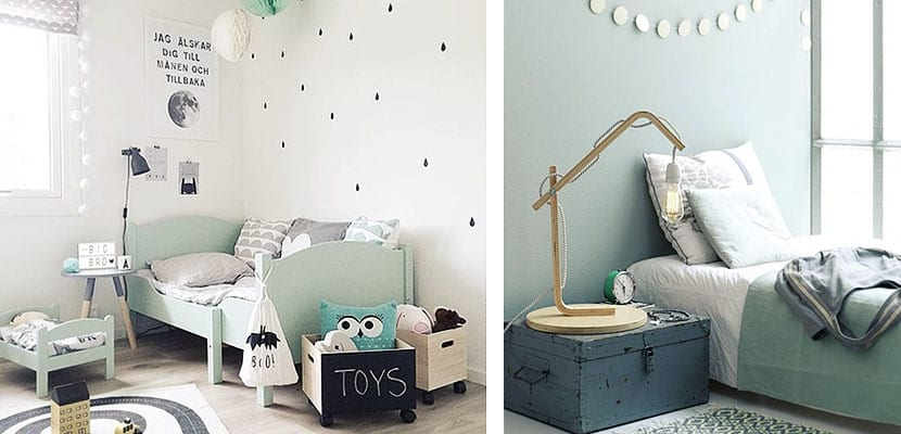 Dormitorio infantil verde pastel