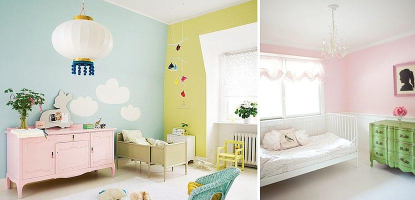 Dormitorio infantil verde y rosa
