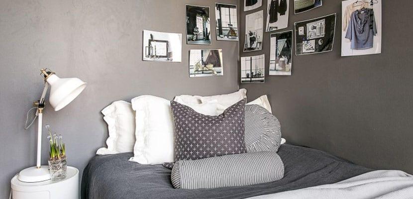 Dormitorio nórdico en un mini piso