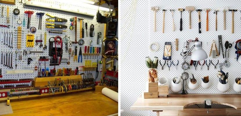 Paneles perforados para organizar el garaje
