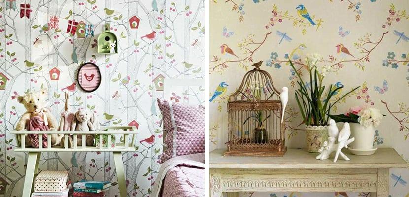 Papel pintado floral con pájaros