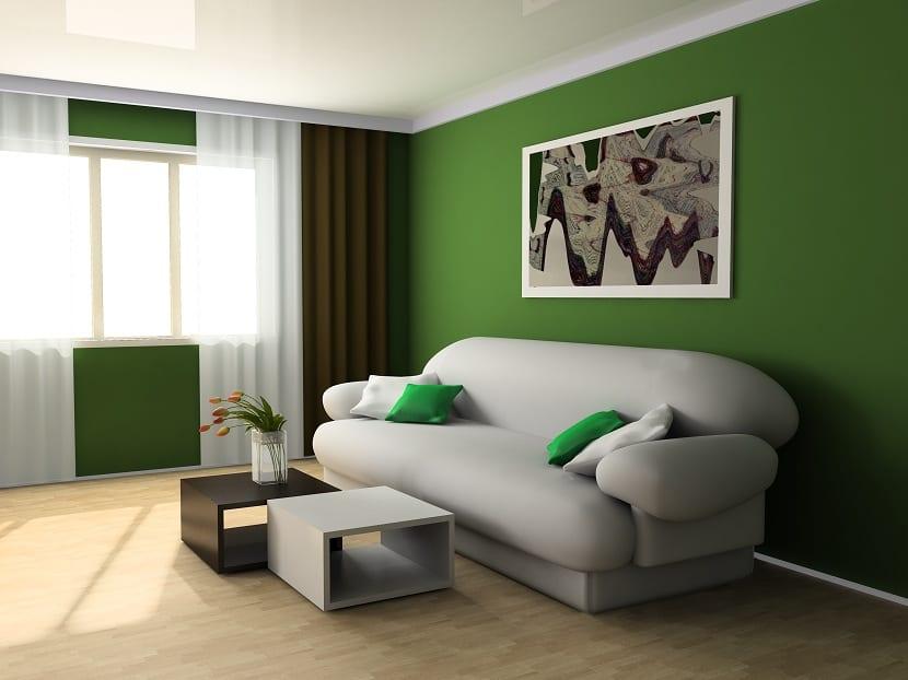 el color verde para decorar el hogar
