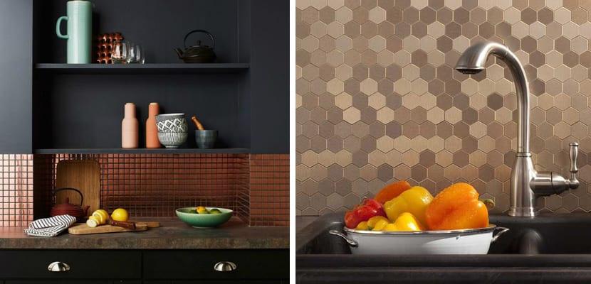 Azulejos metalizados en tonos cobre