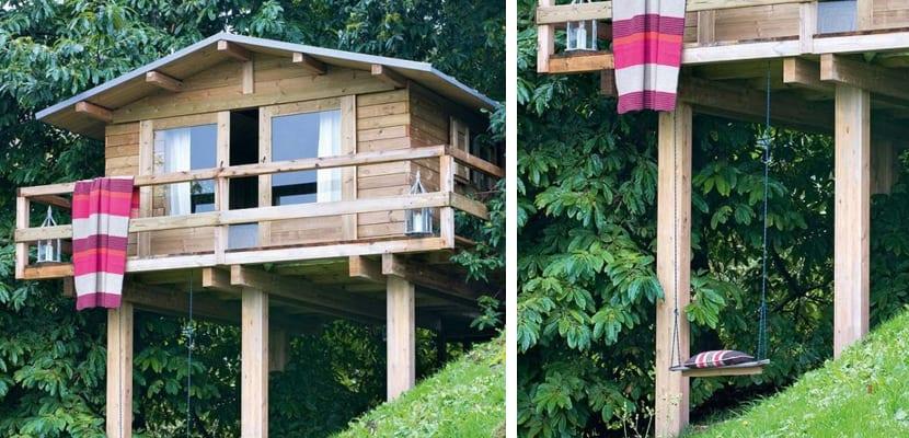 Casa de madera en el campo