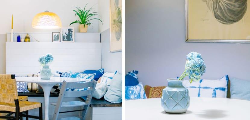 Casa ecléctica con color azul