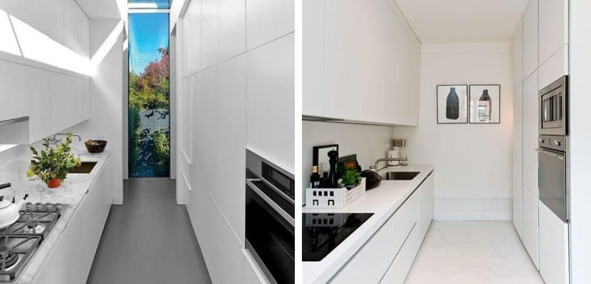 Cocina estrecha en estilo minimalista