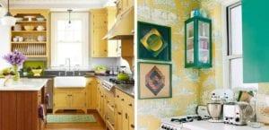 Cocinas veraniegas en verde y amarillo