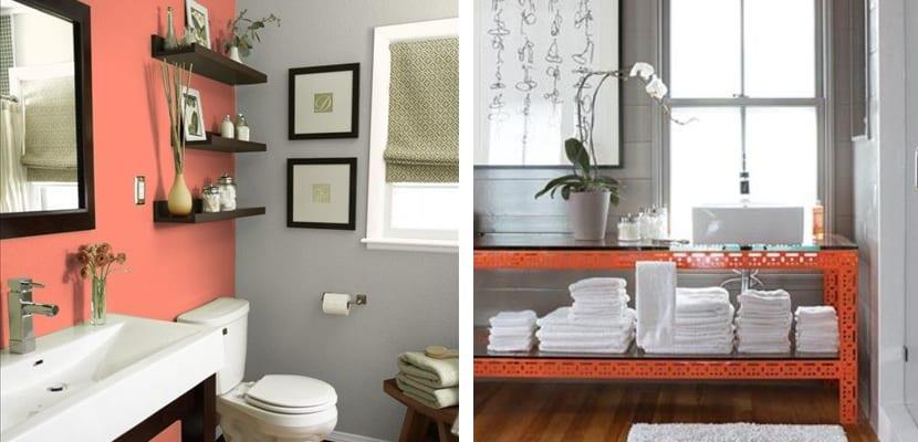 Coral y gris en el baño