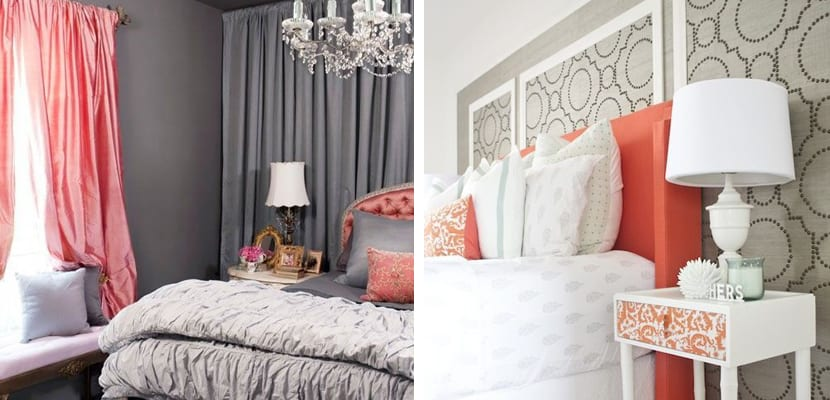 Dormitorio con coral y gris