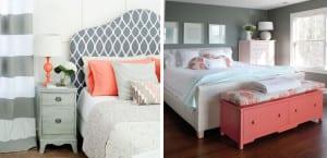 Dormitorios en coral y gris
