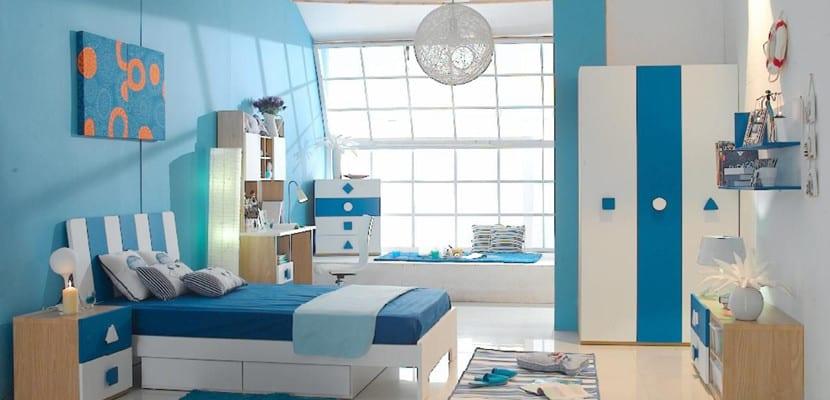 Dormitorio juvenil en color azul
