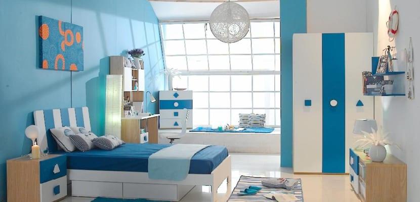 Dormitorios en color azul - Habitacion juvenil azul ...