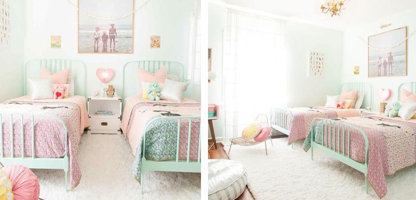Tonos pastel en el dormitorio compartido