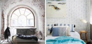 Dormitorio con paredes de ladrillo blanco