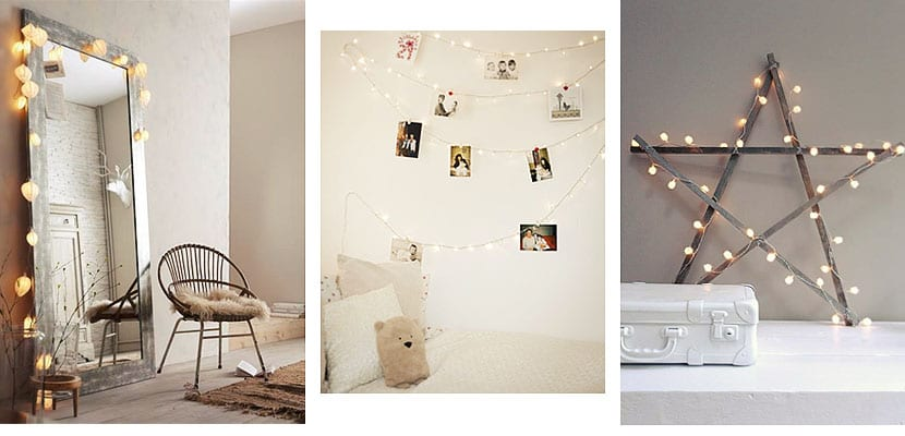 Guirnaldas de luz en el dormitorio