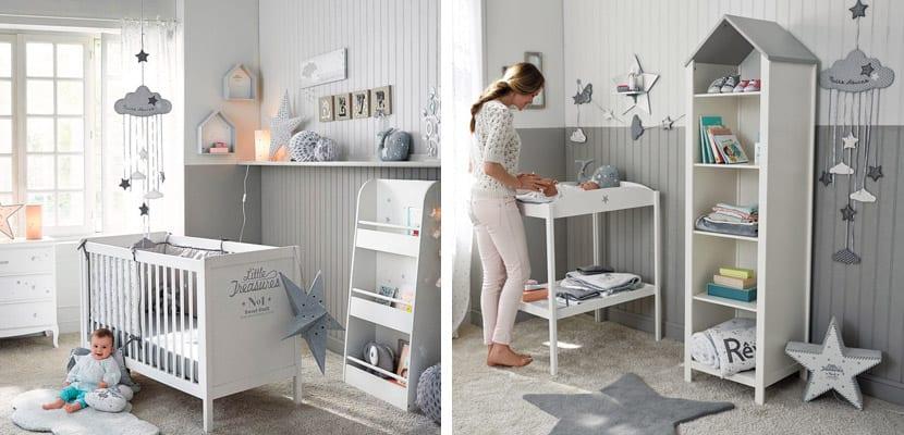 Habitaciones de beb en tonos neutros for Cuarto azul con gris