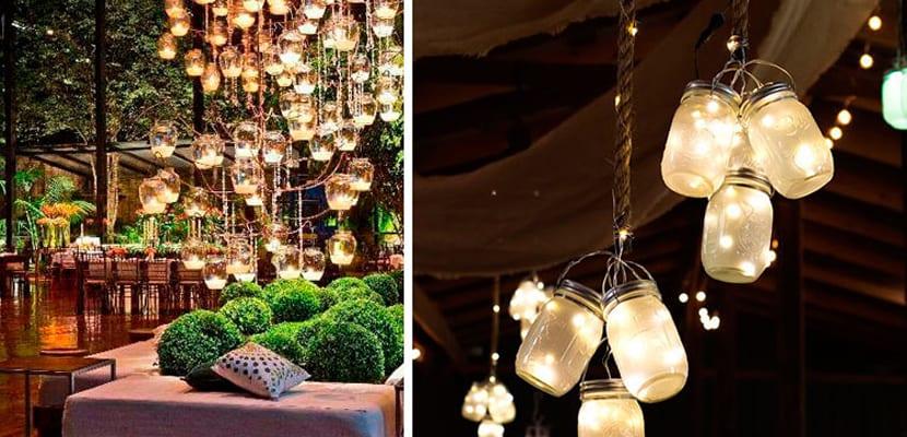 Iluminación con tarros DIY