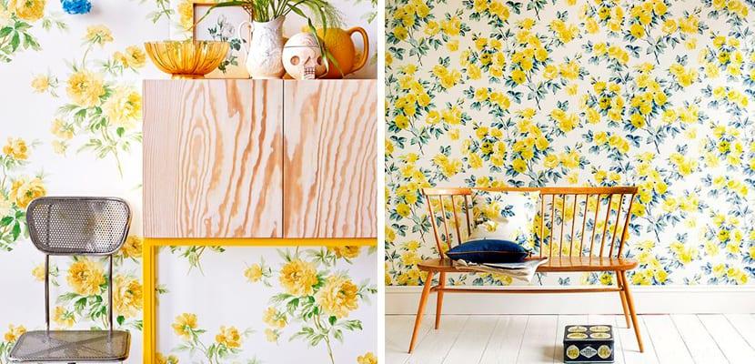 Papel pintado floral en amarillo