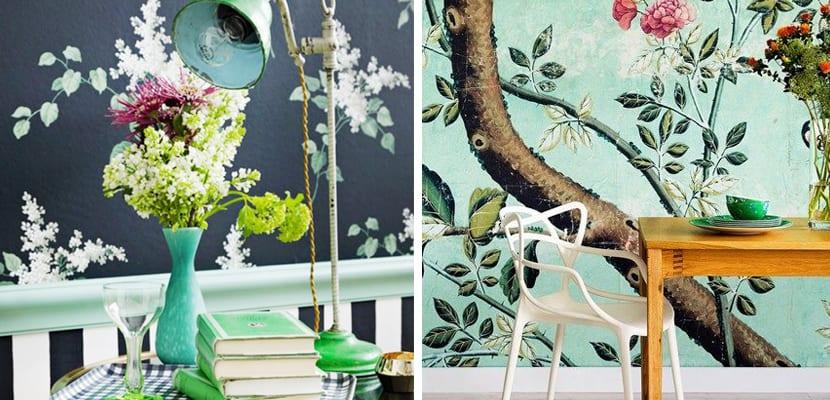 Papel pintado floral en colores vivos
