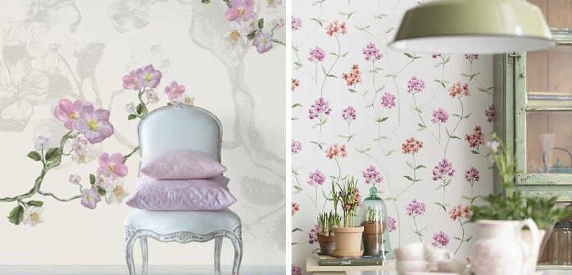 Papel pintado floral tonos suaves