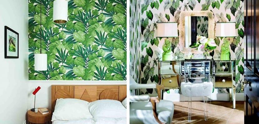 Papel pintado floral tonos verdes