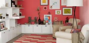 Salón en tonos vivos rosados