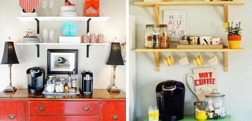 Zona de café con estanterías