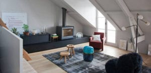 Salón en madera y gris