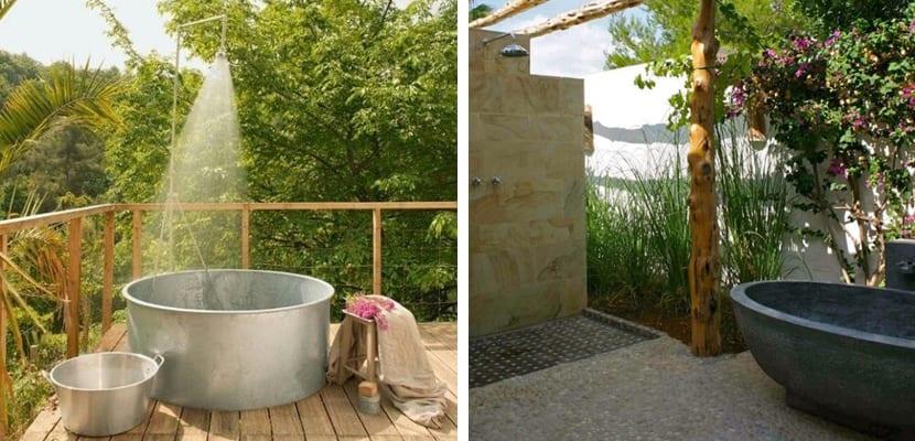 Baño en el exterior con bañera