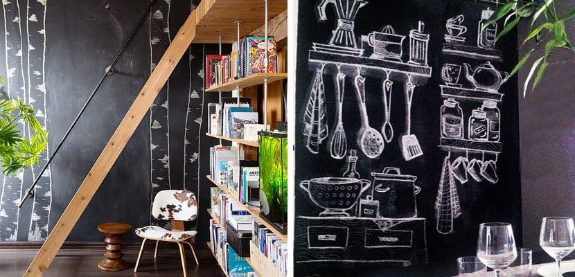 Decorar las paredes con pintura de pizarra