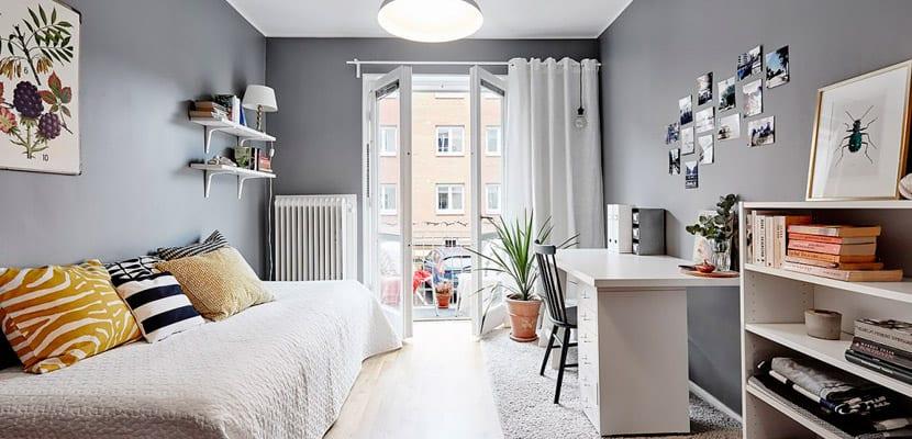 Dormitorio tonos grises