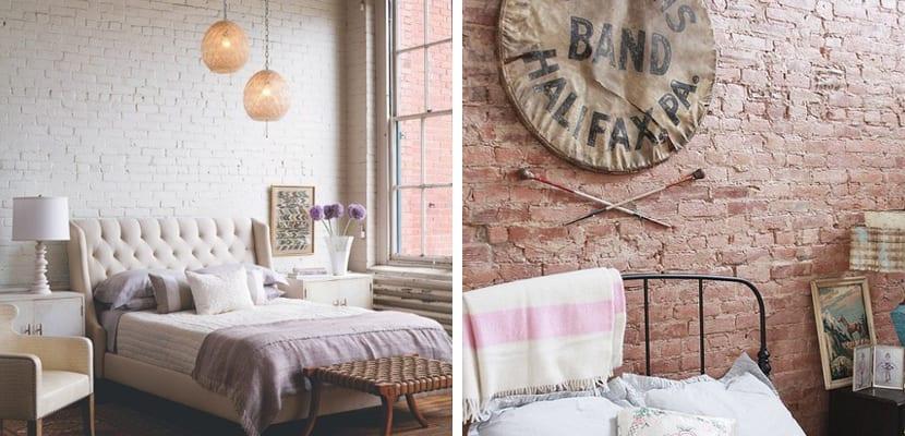 Dormitorio con paredes de ladrillo