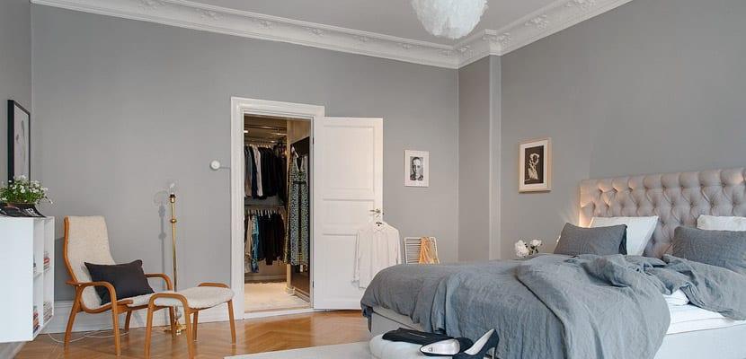Dormitorio en tonos grises - Colores de paredes para habitaciones ...