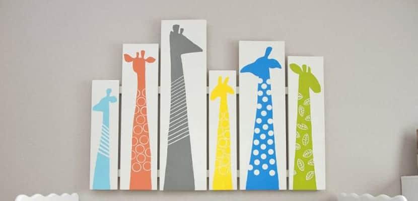 Cuadro en madera de jirafas