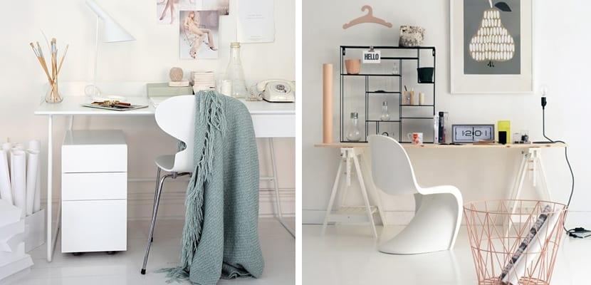 Oficina en tonos blancos